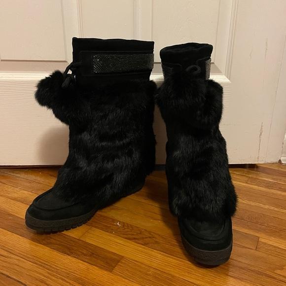 Coach Maryann Rabbit fur Pom Pom Wedge Boots 8